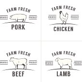 Set of vintage butchery meat stamps and labels