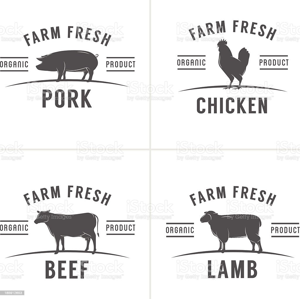 Set of vintage butchery meat stamps and labels vector art illustration