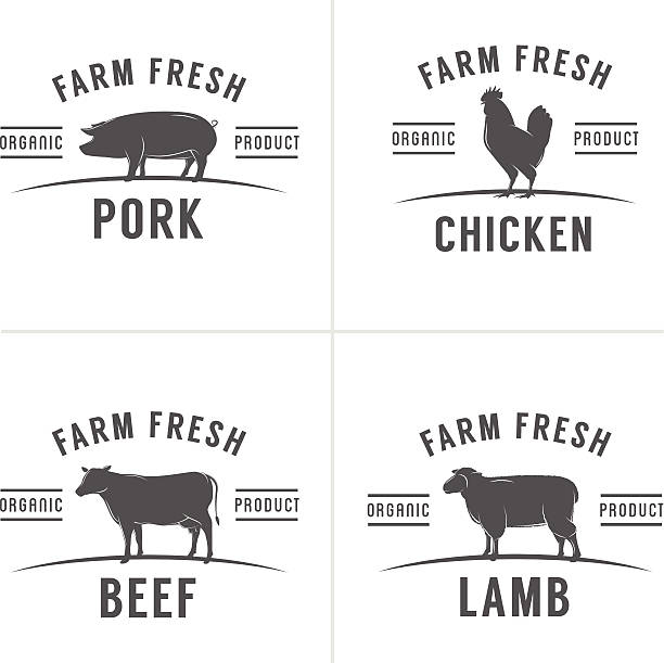 Set of vintage butchery meat stamps and labels Set of vintage butchery meat stamps and labels. poultry stock illustrations