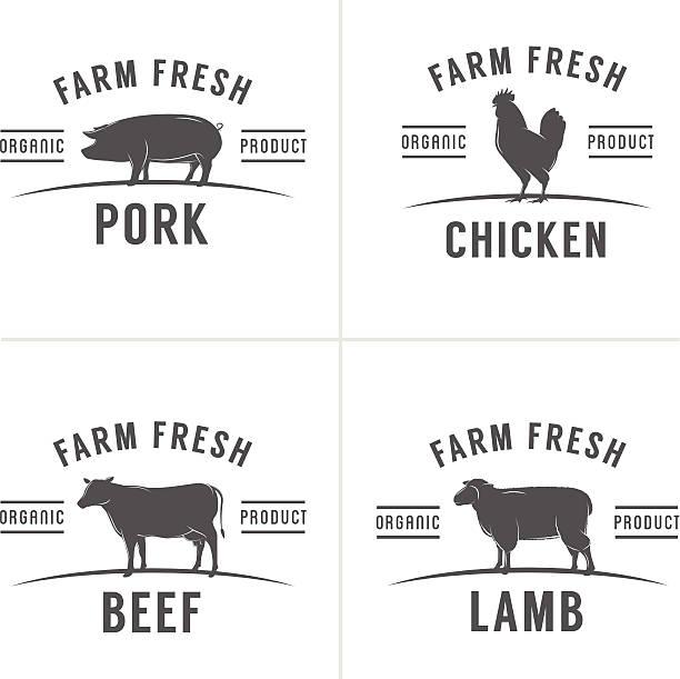 stockillustraties, clipart, cartoons en iconen met set of vintage butchery meat stamps and labels - pig farm