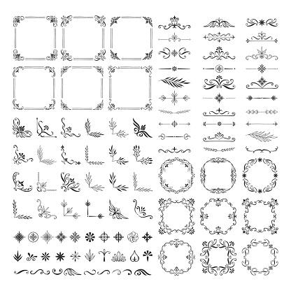 Set of vintage calligraphic dividers, frames, borders, corners. Vector hand drawn illustration.