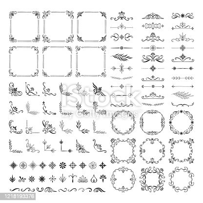 Set of vintage calligraphic dividers, frames, borders, corners. Vector hand drawn illustration.