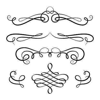 Set of vintage calligraphic vignettes and flourishes