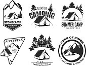 Set of vintage camping and outdoor adventure emblems.