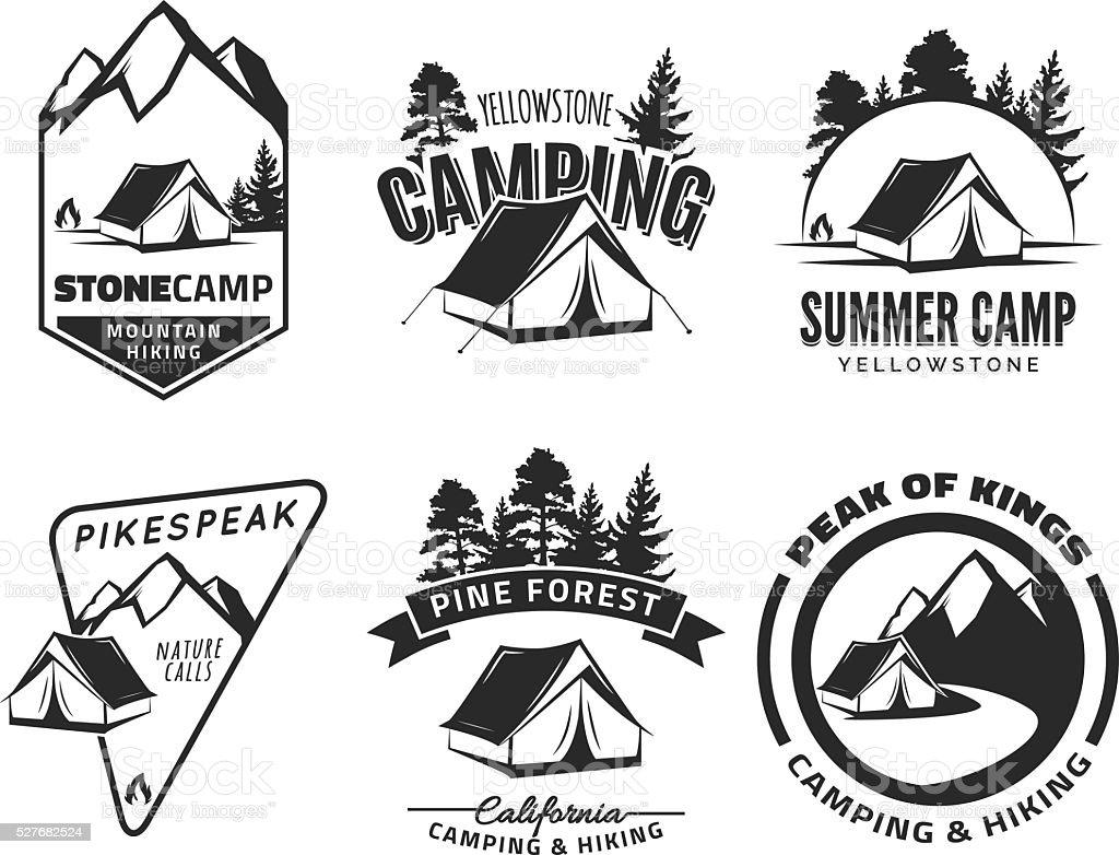 Groupe de Camping Vintage et symboles de l'aventure en plein air. - Illustration vectorielle