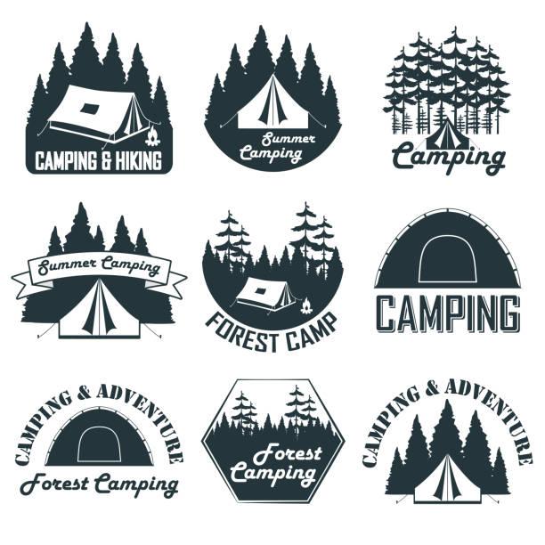 Set of vintage camping emblems, logos and badges vector art illustration