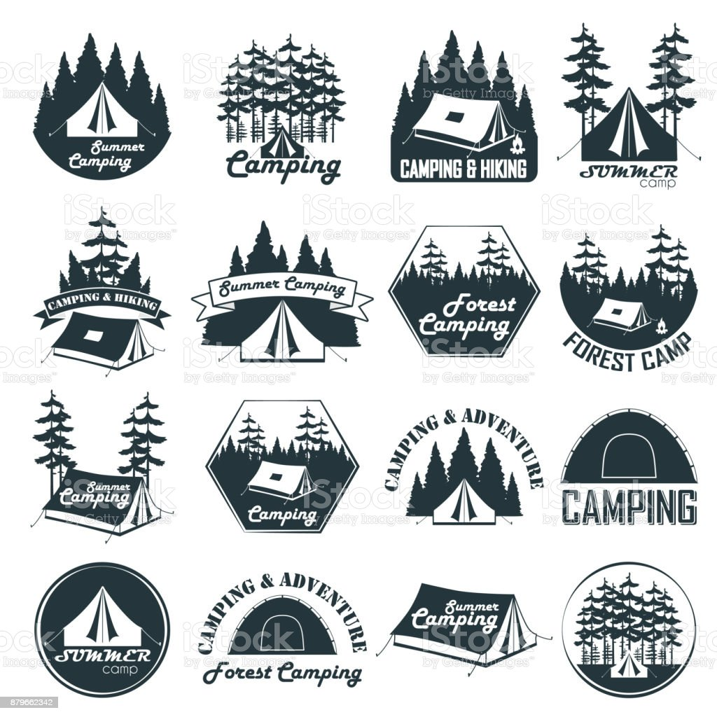 Set of vintage camping emblems, logos and badges