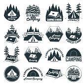 Set of vintage camping emblems, logos and badges. Camp tent in forest. Vector illustration