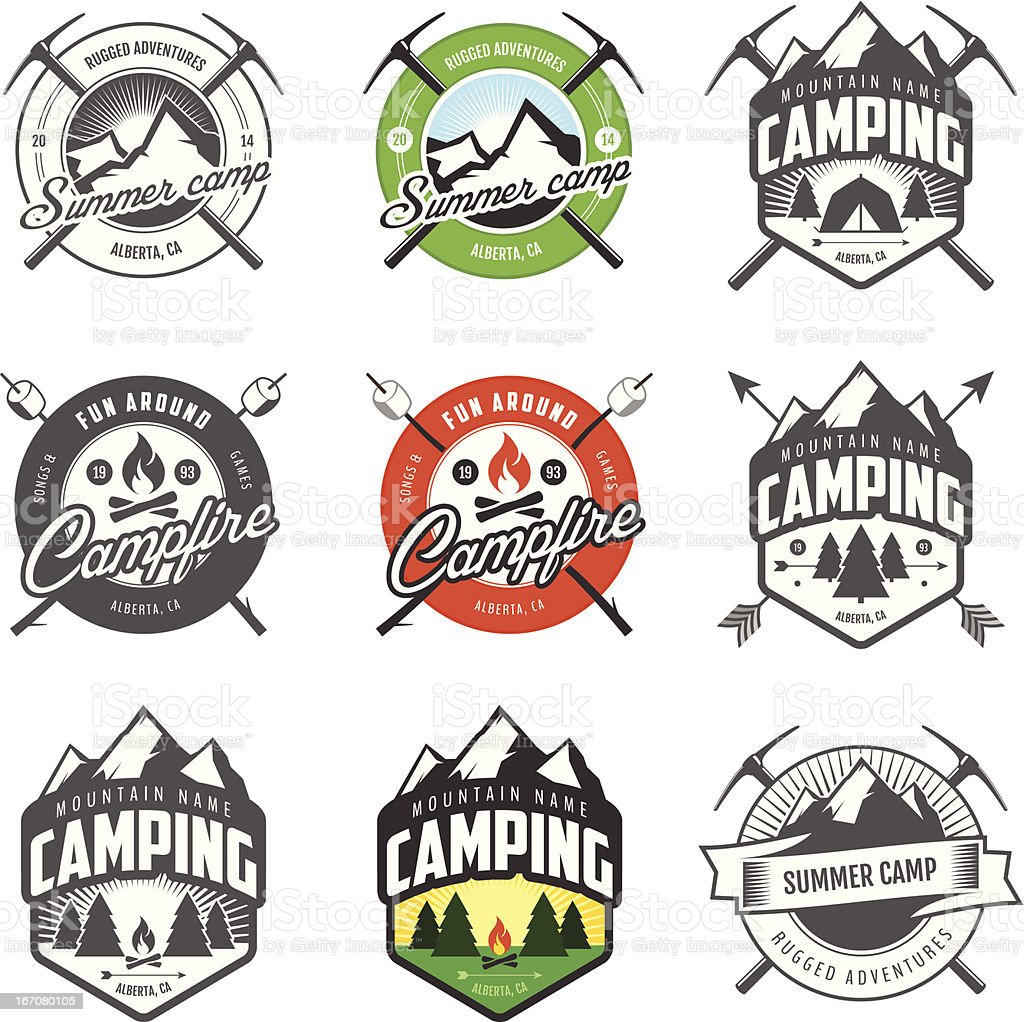 Set of vintage camping labels and badges royalty-free stock vector art