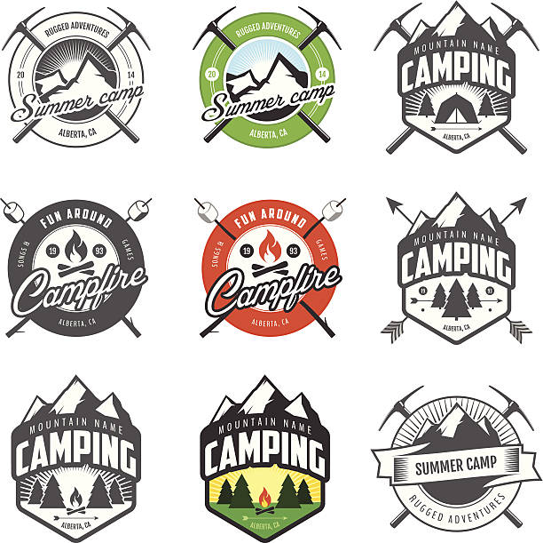 Set of vintage camping labels and badges vector art illustration