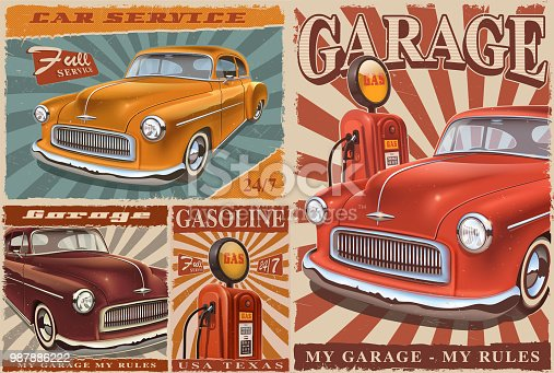 Set of vintage car metal signs, retro posters with classic car, garage, gas station.