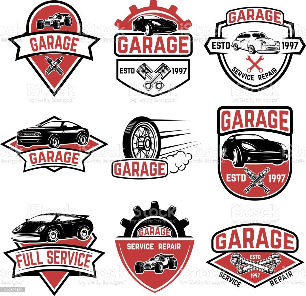 Set Of Vintage Car Service Labels Design Elements For Label Emblem ...