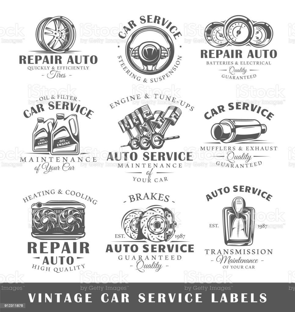 Oldtimer-Service Etiketten – Vektorgrafik