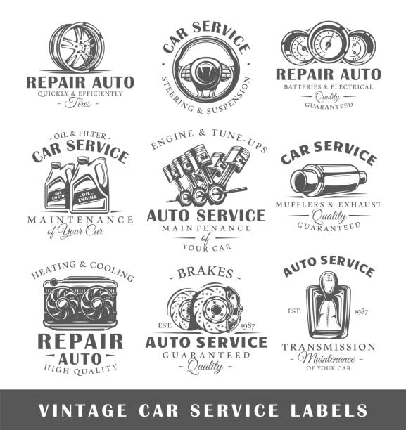 set of vintage car service labels - mechanic stock illustrations, clip art, cartoons, & icons