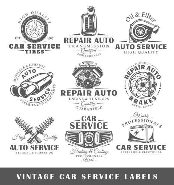 Set of vintage car service labels vector art illustration