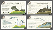 set of vintage cards renewable energy from paper templates infographics