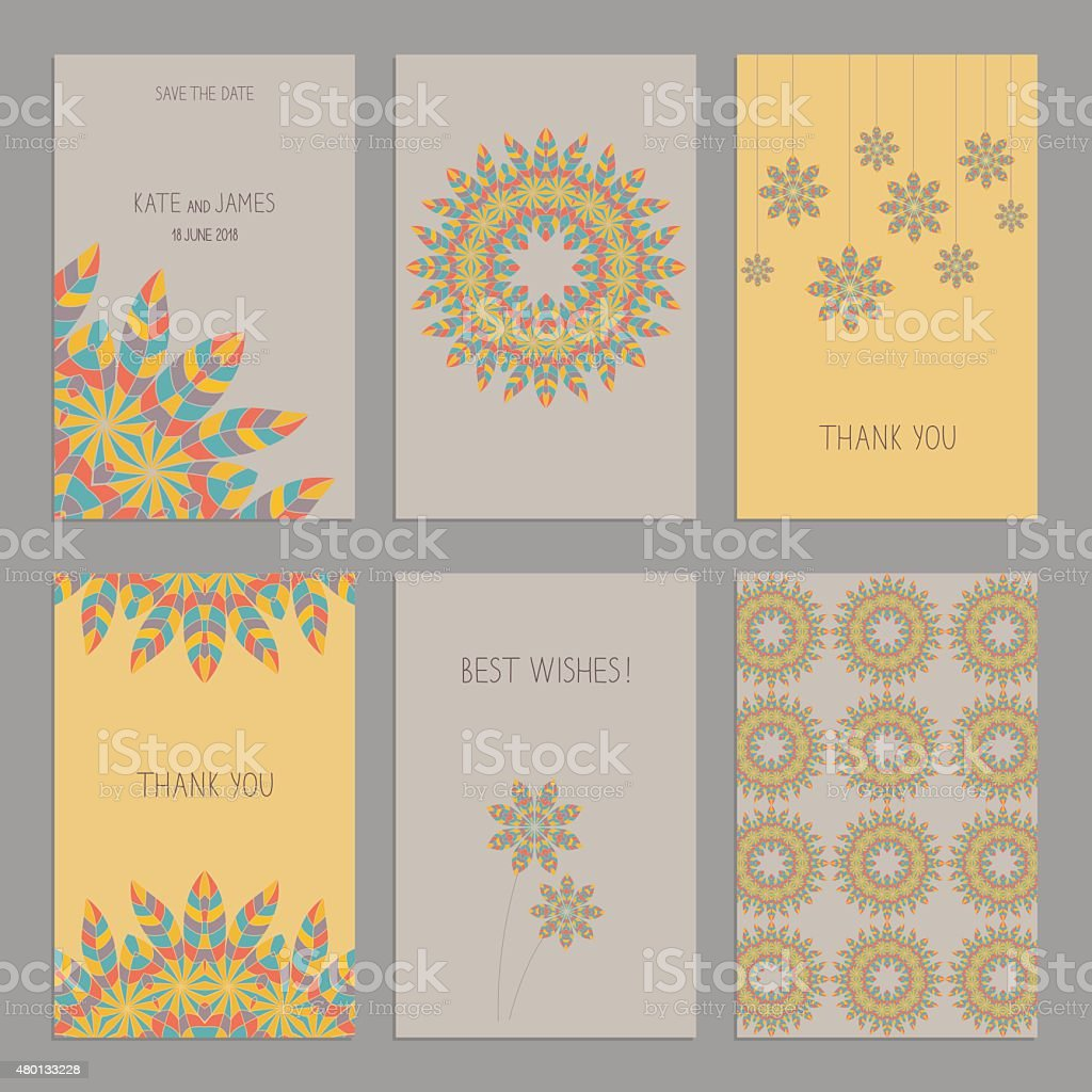 Set of vintage cards  templates editable in ethnic Indian style. vector art illustration