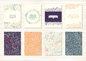 Set of vintage cards with flower patterns and ornaments