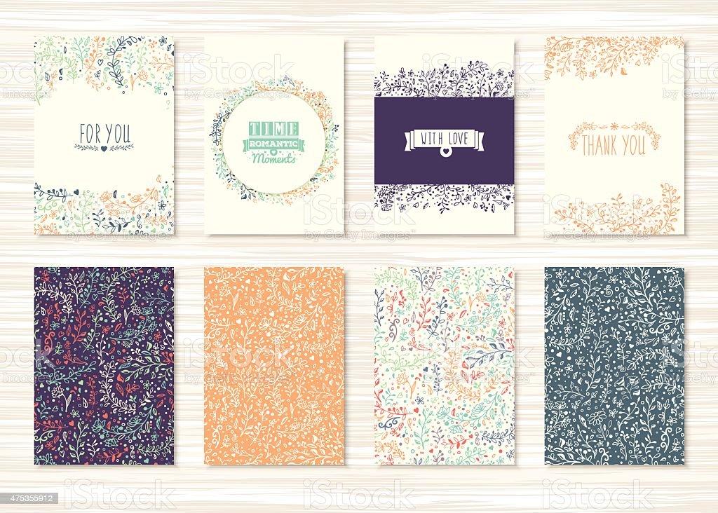 セットビンテージのカード、花柄やオーナメント ベクターアートイラスト