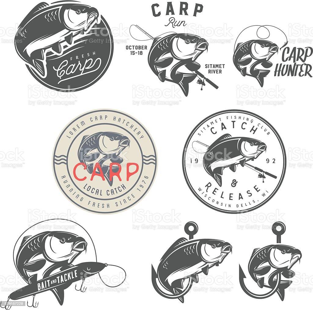 Set of vintage carp fishing labels, badges and design elements vector art illustration