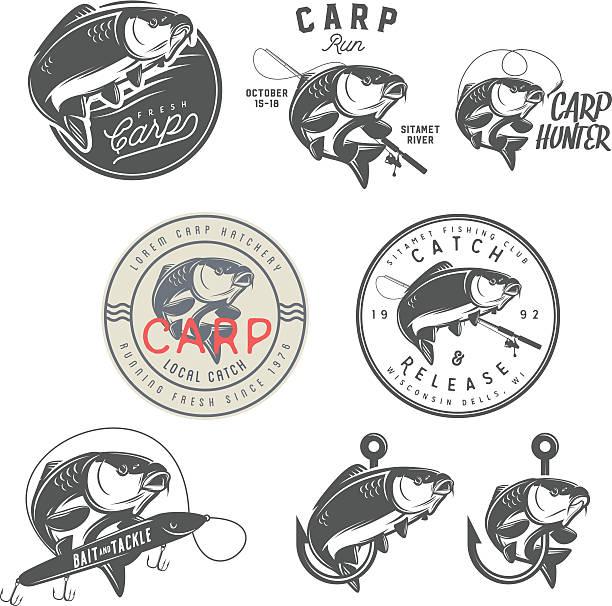 stockillustraties, clipart, cartoons en iconen met set of vintage carp fishing labels, badges and design elements - carp