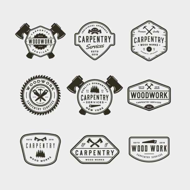 ilustraciones, imágenes clip art, dibujos animados e iconos de stock de conjunto de símbolos de carpintería vintage. ilustración vectorial - carpintero