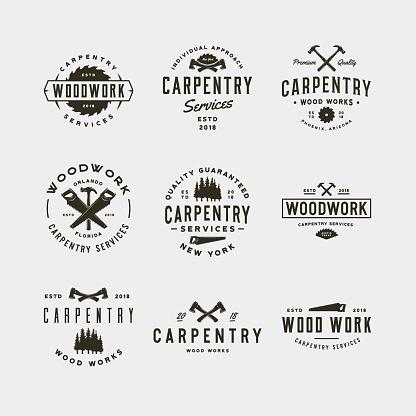 set of vintage carpentry symbols. vector illustration