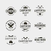 set of vintage carpentry symbols. retro styled wood works emblems, badges, design elements, logotype templates. vector illustration
