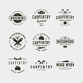 set of vintage carpentry symbols. retro styled wood works emblems, badges, design elements, logotype templates. vector illustration