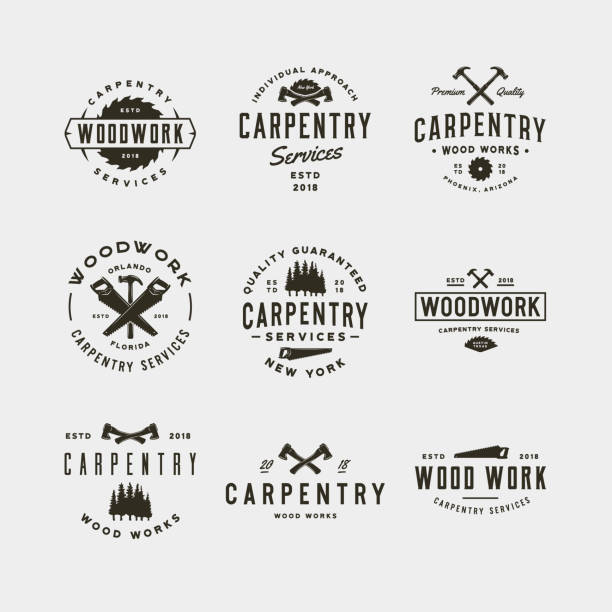 set of vintage carpentry symbols. vector illustration set of vintage carpentry symbols. retro styled wood works emblems, badges, design elements, logotype templates. vector illustration carpenter stock illustrations