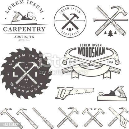 Set of vintage carpentry tools, labels and design elements.