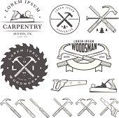 Set of vintage carpentry tools, labels and design elements.