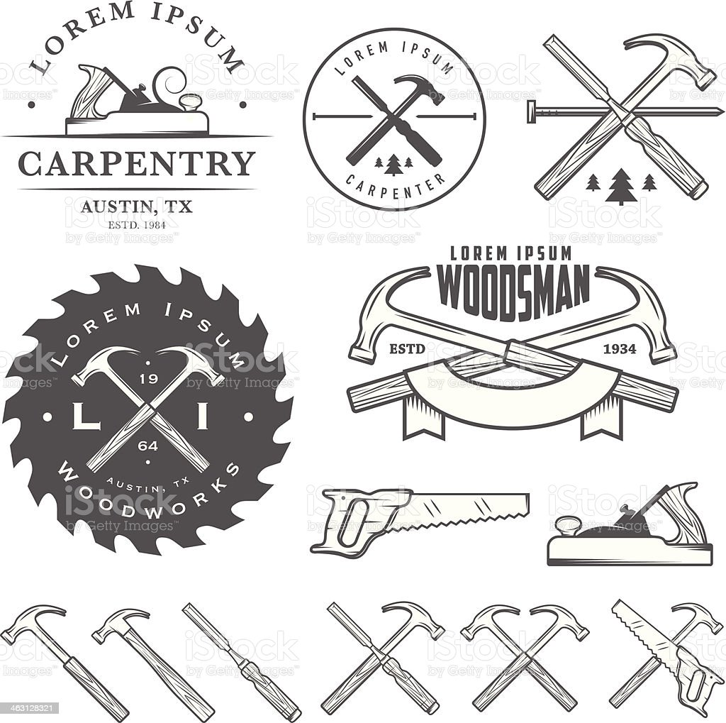 Set of vintage carpentry tool elements and labels vector art illustration