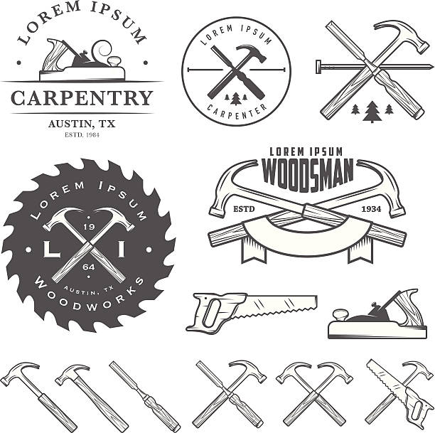 Set of vintage carpentry tool elements and labels Set of vintage carpentry tools, labels and design elements. carpenter stock illustrations