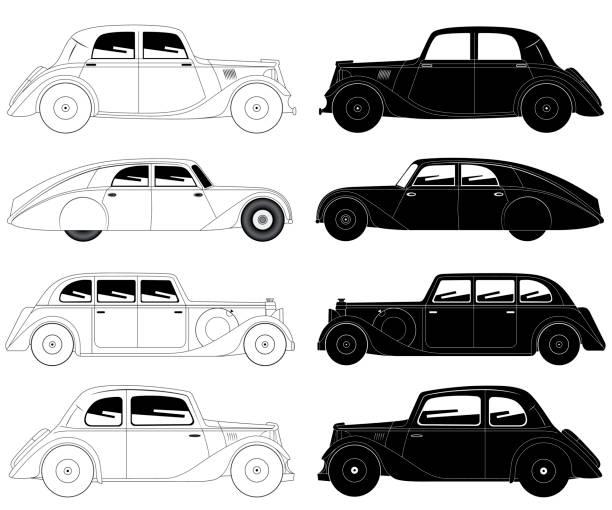 Set of vintage cars vector art illustration