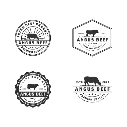 Set of Vintage Cattle Angus Beef Meat Label VectoR illustration - Stock illustration Indonesia, Livestock, Angus, Cow, Cattle, Logo