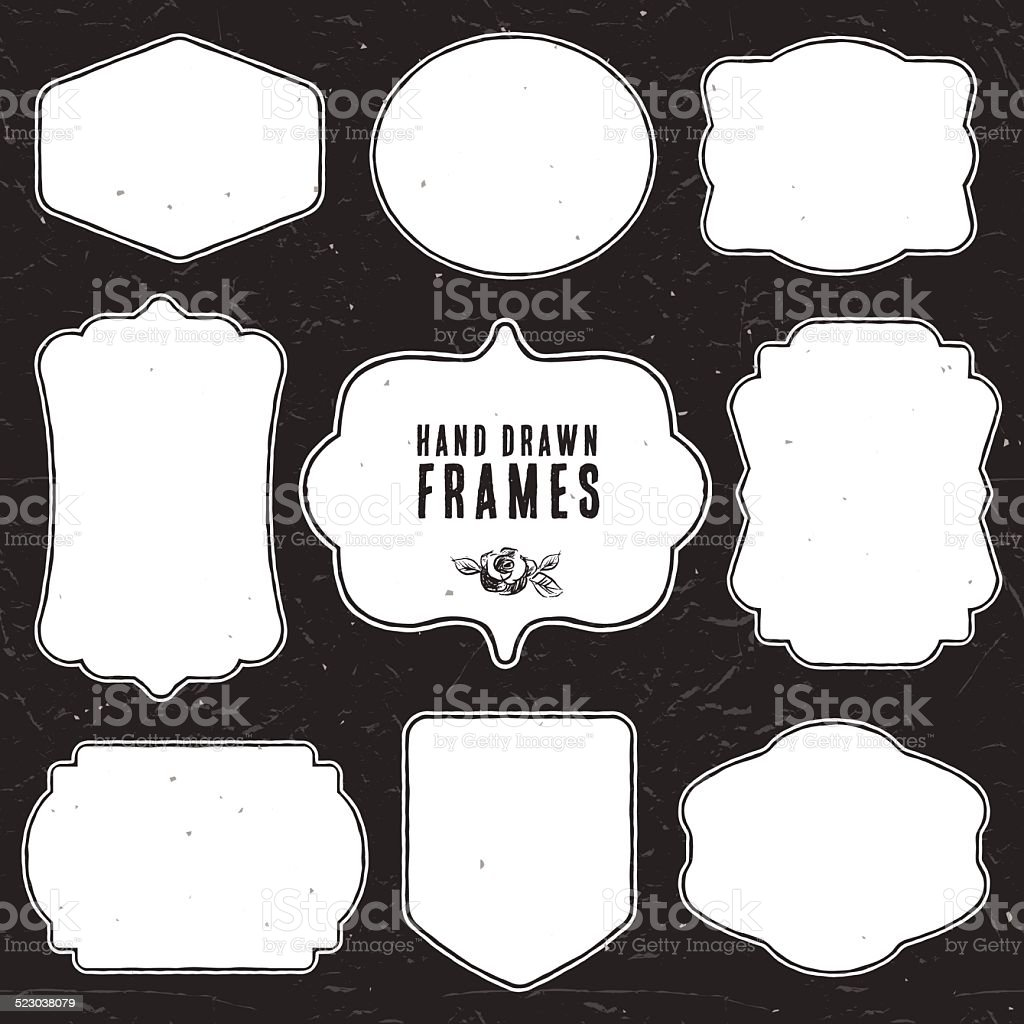 Set of vintage chalk frames and labels. vector art illustration
