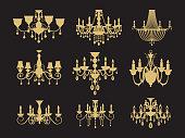Luxury vintage crystal lamp details. Crystal glass glittering chandelier, cross processed colors.