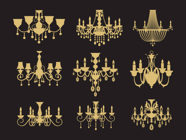 Set of vintage chandeliers isolated on black background Set of vintage chandeliers isolated on black background. Vector lamp for interior, antique and luxury illustration candlestick holder stock illustrations