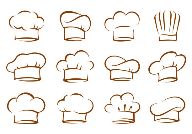 set of vintage chef and cook hats art set of vintage isolated hand drawn chef and cook hats on white background chef's hat stock illustrations