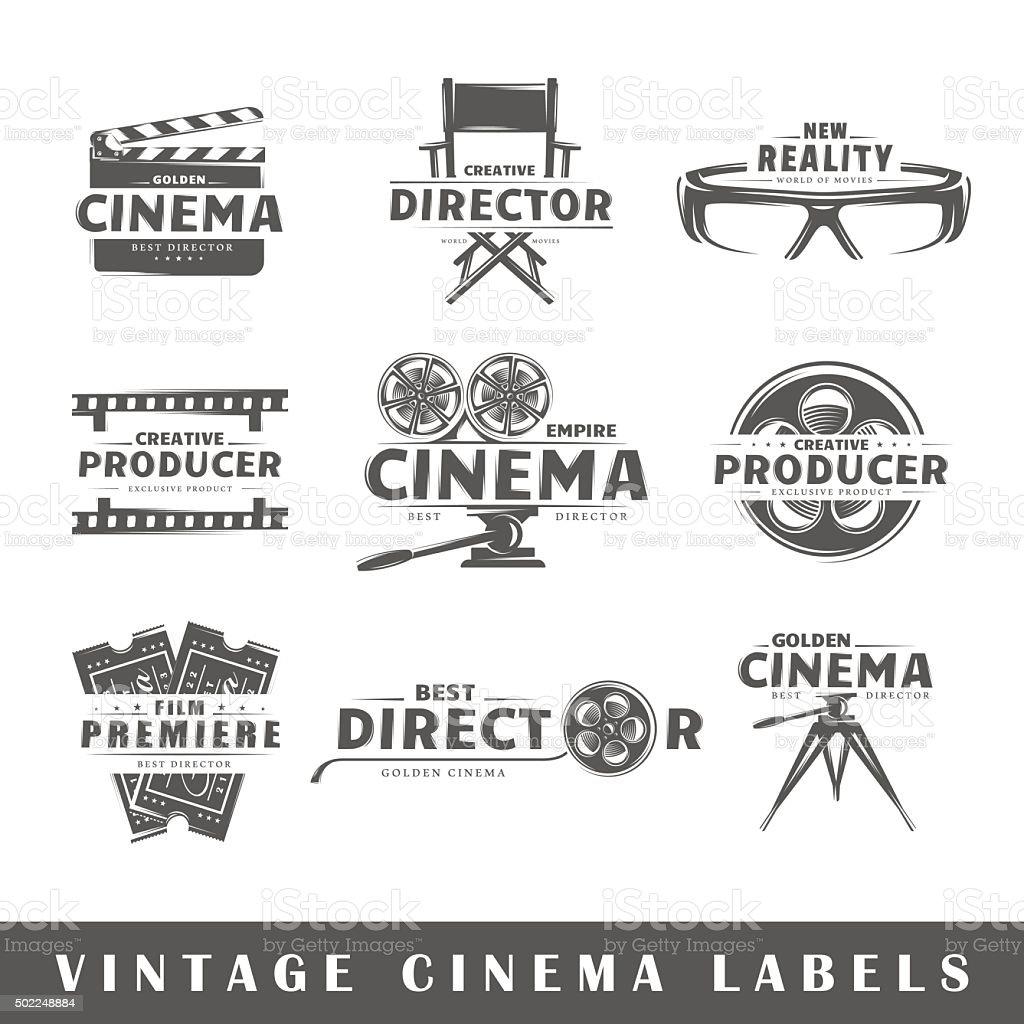 Set of vintage cinema labels vector art illustration