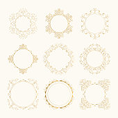 Set of vintage circle golden frames with flourish borders. Vector isolated illustration.