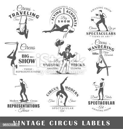 Set of vintage circus labels. Templates for the design of logos and emblems. Collection of circus symbols: clown, acrobatic, trick. Vector illustration