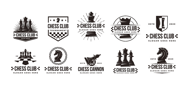 Set of Vintage classic badge emblem chess club, chess tournament vector icon on white background