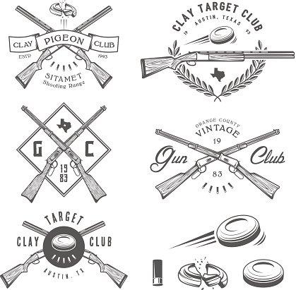 Set of vintage clay target and gun club labels, emblems and design elements.