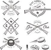 Set of vintage clay target labels, emblems, design elements
