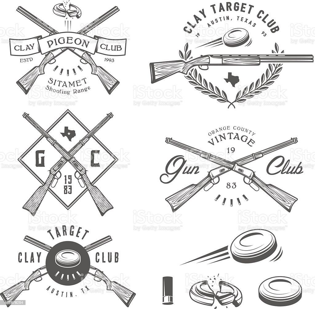Set of vintage clay target labels, emblems, design elements vector art illustration