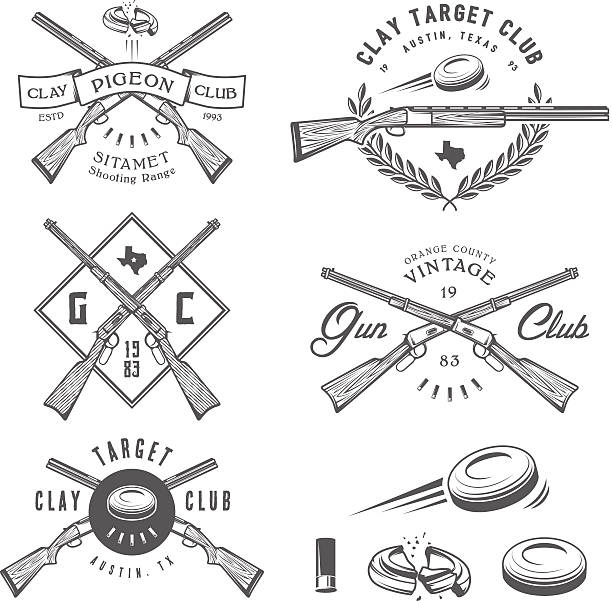 stockillustraties, clipart, cartoons en iconen met set of vintage clay target labels, emblems, design elements - gun shooting