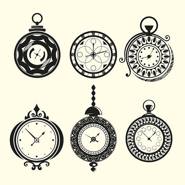 Set of vintage clocks vector art illustration