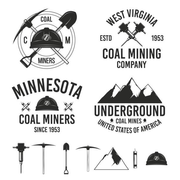 bildbanksillustrationer, clip art samt tecknat material och ikoner med uppsättning av vintage kol brytning logo typ mallar.  7 design element för gruv emblem, etiketter, emblem. vektor illustration - mining